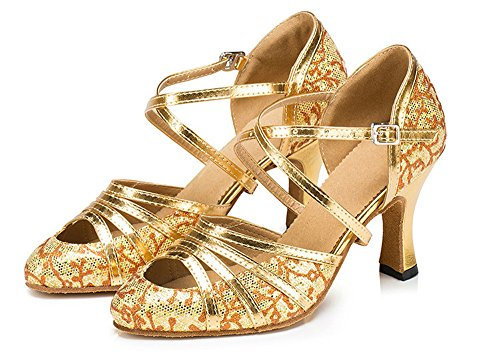Glitter Salsa Shoes Honeystore Latin Gold Strap Pump Party Mid Women's Tango Wedding Cross Criss Dance Heel 57qIAqw