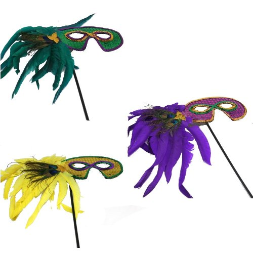 [Mardi Gras Handheld Feather Mask (Sold Separately)] (Feather Mask With Stick)