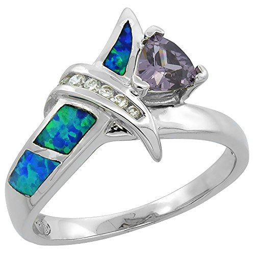 Sterling Silver Synthetic Opal Knot Ring Trillion Cut Amethyst CZ Center & white CZ 9/16 inch, size 7