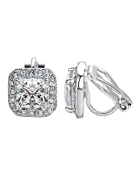 Yoursfs Clip-on Earring For Women Clear CZ Halo Princess Cut Solitaire Stud Clip On Earring