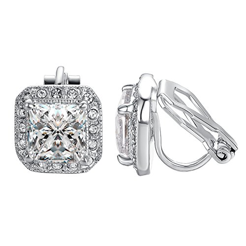 Yoursfs Clear CZ Halo Princess Cut Solitaire Stud Clip On Earrings…