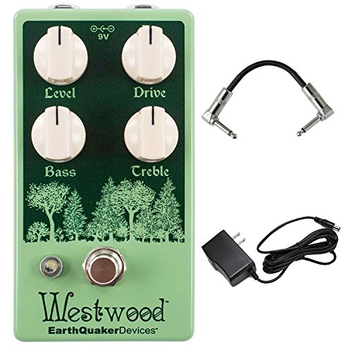EarthQuaker Devices Westwood Translucent Drive Manipulator Overdrive Pedal with Active EQ and True Bypass Switching with AC Power Adapter and Pedal Patch Cables