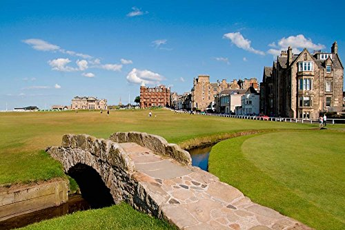 Golfing The Swilcan Bridge on The 18th Hole, St Andrews Golf Course, Scotland by Bill Bachmann/Danita Delimont Art Print, 24 x 16 inches - Andrews Bridge