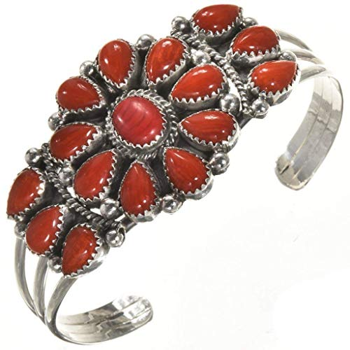 Coral Old Pawn Style Indian Bracelet Ladies Navajo Cluster Cuff 0242 ()