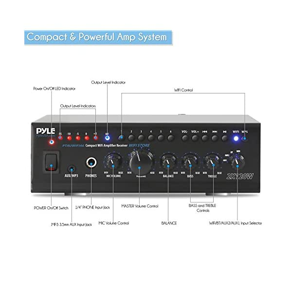 Pyle WiFi Stereo Amplifier Receiver Professional Home Theater Audio System Wireless Bluetooth Connectivity AUX MP3 Music Streaming 1/4'' Input & Microphone Paging/Mixing Control 240 Watt (PTAUWIFI46)