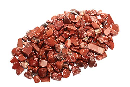 ZenQ 1 lb Red Jasper Tumbled Stone Chips Crushed Natural Crystal Quartz Pieces 0.47-0.98 Inch Each
