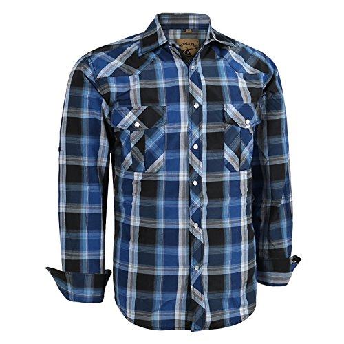 - Coevals Club Men's Long Sleeve Casual Western Plaid Buttons Shirt (2XL,4#Blue,Black)
