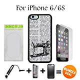 Vintage Sewing Machine on Newspaper Custom iPhone 6 Cases/6S Cases-Black-Plastic,Bundle 3in1 Comes with HD Tempered Glass/Universal Stylus Pen by innosub