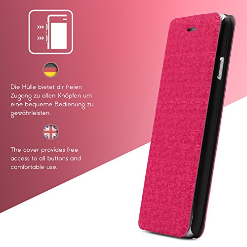 Urcover® iPhone 6 6S Hülle, Schutzhülle mit [ Stand-Funktion ] Flip Case Cover Etui Bookstyle Wallet für Apple iPhone 6 / 6S Farbe: Pink