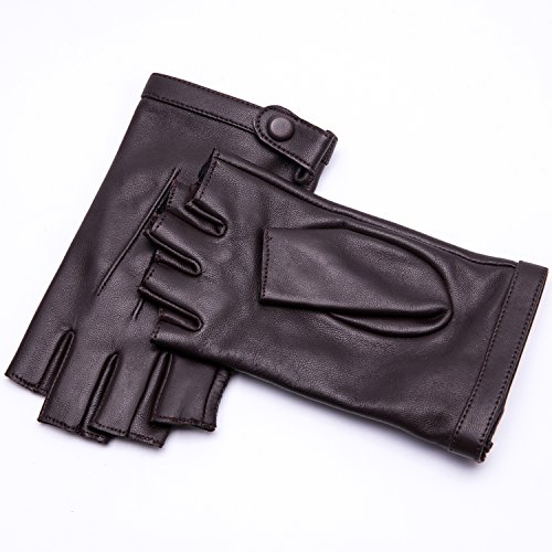 YISEVEN Women's Classic Sheepskin Leather Fingerless Gloves Lined