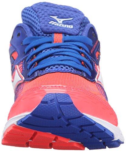 Mizuno Wave Sayonara 4de la mujer running Shoe Fiery Coral-Dazzling Blue-White