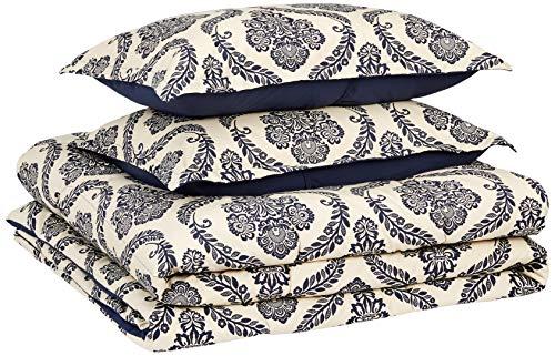 AmazonBasics Comforter Set, King, Blue Damask