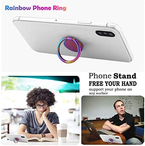 lenoup Rainbow Cell Phone Ring Stand Holder,Purple Multicolor Ring Grip Kickstand,360 Rotation Metal Finger Ring for Almost All Phones,Pad