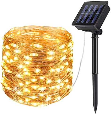 Solar String Lights Outdoor, Updated More Durable Solar Lights Outdoor, Waterproof Copper Wire 8 Modes Solar Powered Fairy Lights for Patio Wedding Yard Party Copper Wire Warm White