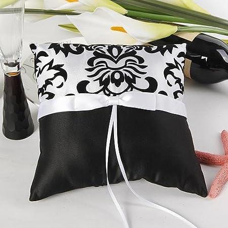 Anillo de bodas almohada cojín Color de contraste blanco ...