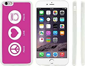 Rikki KnightTM Peace Love Police Rose Pink Color Design iPhone 6 Plus Case Cover (Clear Rubber with raised front bumper protection) for Apple iPhone 6 Plus