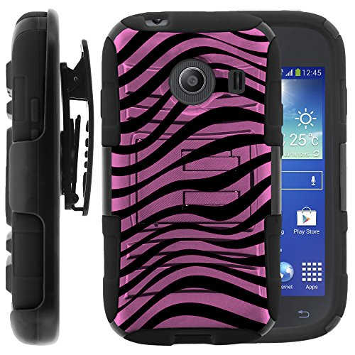 Samsung Galaxy Ace Style Case, Samsung Galaxy Ace Style Holster, Two Layer Hybrid Armor Hard Cover with Built in Kickstand for Samsung Galaxy Ace Style S765C SM-G310 from MINITURTLE | Includes Screen Protector - Pink Zebra