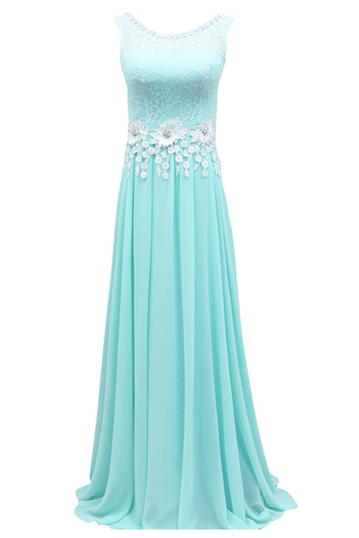Sunvary Romantic Long Satin Sleeveless Sheer Straps A-line Jewel Evening Prom Dresses