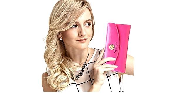 Womens bloqueo RFID cartera de piel Classic embrague largo billetera titular de la tarjeta monedero bolso de mano: Amazon.es: Ropa y accesorios