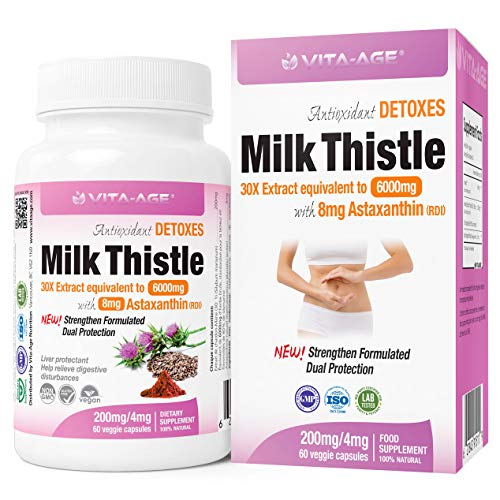 (Buy2 Get 1 Free) Pure Milk Thistle Supplement 6000mg, 30X Concentrated Extract 30:1 is The Strongest Plus Astaxanthin 4mg (80% Silymarin Marianum) Promotes Liver Health Detox