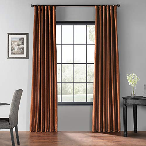 Curtain Copper - HPD Half Price Drapes PDCH-KBS36BO-96 Blackout Vintage Textured Faux Silk Curtain 50 X 96 Copper Kettle