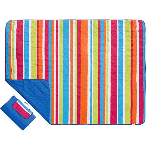 Outdoor Blanket Extra Large Picnic Blanket Water-Resistant and Sand Proof Beach Blanket- Compact Mat Folds into a Tote Bag for Traveling- Rainbow