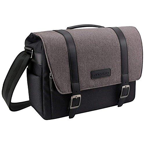 MOSISO Camera Bag, Water Repellent Polyester Large Shoulder Messenger Handbag for Digital SLR/DSLR Cameras (Nikon, Canon, Sony, Pentax, Olympus Panasonic, Samsung and More), MacBook, Laptops, Black by MOSISO