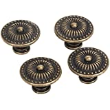 FENICAL Vintage Drawer Cabinet Knob Cupboard Pull Handle Knob 4pcs (Bronze)