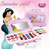Makeup Toy - Disney 23pcs Princess Girls Makeup Kit With Mirror | Washable and non-toxic | Princess Real Makeup Kit with Case | Ideal gift for children.
