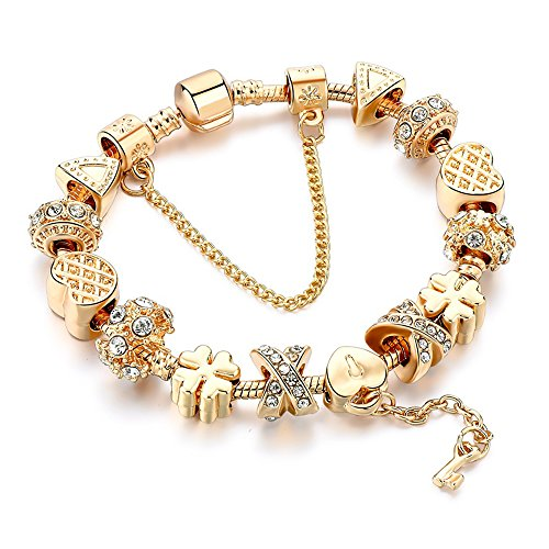 plated Snake Chain Heart Charm Lock And Key To My Heart Beads for Teens Gift ()