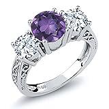 Purple Amethyst & White Topaz 925 Sterling Silver 3-Stone Women's Ring 2.10 Gemstone Birthstone (Size 9)
