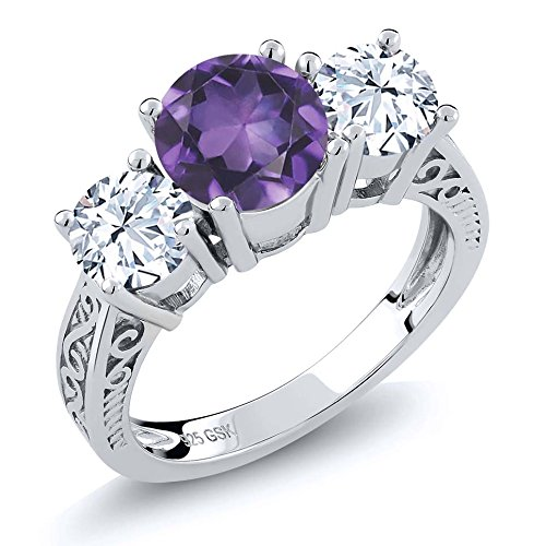 (Gem Stone King 2.60 Ct Round Purple Amethyst 925 Sterling Silver 3-Stone Ring (Size 9))