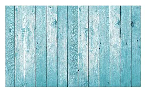 Lunarable Turquoise Doormat, Aged Wooden Planks Texture Image Vertically Striped Surface Floor Rustic Design, Decorative Polyester Floor Mat with Non-Skid Backing, 30