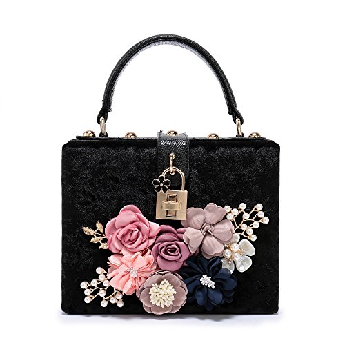 Good Womens Flower - Women's New Satin Flower Evening Clutch Pearl Beaded Evening Handbag Tote Bag