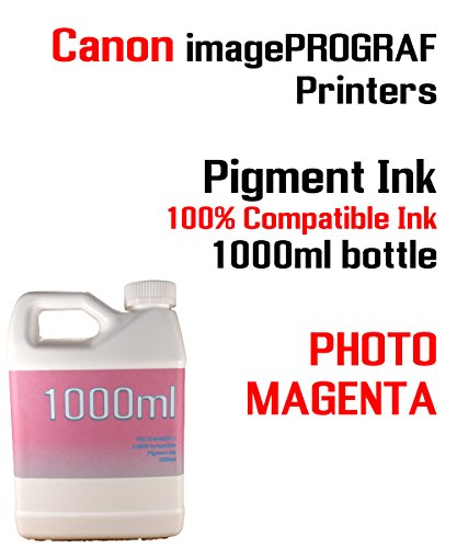 (Photo Magenta Pigment Ink 1000ml - CANON imagePROGRAF iPF6300, iPF6350, iPF6400, iPF6410, iPF6450, iPF6460, iPF8300, iPF8400, iPF8410, iPF9300, iPF9400, iPF9410 - 100% compatible bottle ink)