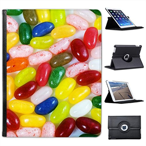 Multi Flavoured Jelly Beans Red, Green, Pink, Blue for Apple iPad 2, 3 & 4 Faux Leather Folio Presenter Case Cover Bag with Stand Capability