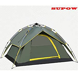 SUPOW(TM) Automatic Outdoor 3-4 Person Dual-layer Instant Camping Tent Rainproof Independent Outer Layer Cabana (Army Green)