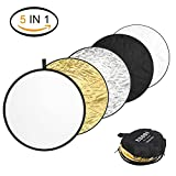 ESDDI Reflector Photography 32inch Light Reflector 5 in 1 Collapsible Multi-Disc Photography Reflector with Bag, Silver, Gold, White, Black, Translucent