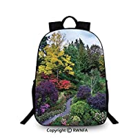 Travel waterproof schoolbag,Famous Masterpiece of Park Architecture Butchart Gardens Colorful Flowers Leaves Print Backpack Cool Children Bookbag,