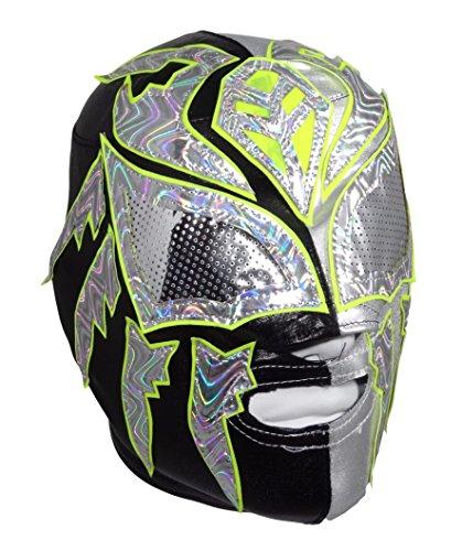 Rey Mysterio Costume Mens (SOMBRA Lycra PRO Adult Lucha Libre Wrestling Mask (pro-LYCRA) Black/Silver)