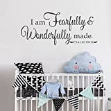 BATTOO I Am Fearfully And Wonderfully Made Psalm 139:14 Nursery Vinyl Decal 30''w Christian Wall Art Religious Wall Decal, Black