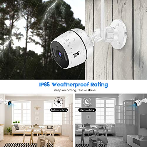 Outdoor Security Camera, TDT 1080P Full HD Home Surveillance Camera, Outdoor Wi-Fi IP Camera with Night Vision, Motion-Sensing Light, 2-Way Audio, Motion Detection, IP65 Waterproof, Cloud Storage