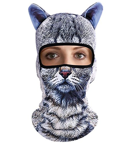 Tabby Cat Face - 3D Animal Ears Balaclava Hood Breathable Windproof Cover Face Mask Neck Warmer For Cold Weather Outdoor Sports Motorcycle Cycling Skiing Hunting Tactical CS Game Tabby Cat