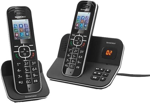 Silvercrest – Teléfono DECT inalámbrico (Twin con Pantalla a Color y contestador automático para Conexiones Fijo Analógicas: Amazon.es: Electrónica
