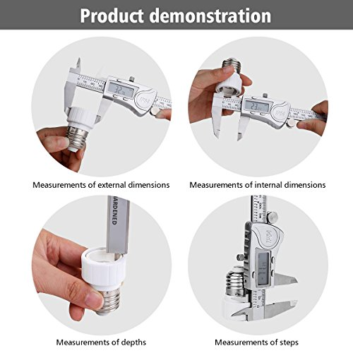 Digital Caliper, LIUMY Professional 6''/150mm Electronic Digital Vernier Caliper with LCD Screen, IP54 Water Resistant and Inches and Metric Easy for Measurement Work silver white Photo #6