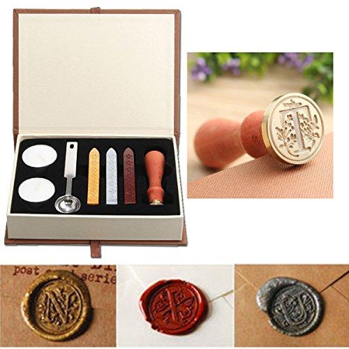 Seal Wax Kit,PUQU Vintage Initial Letters A-Z Alphabet Wax Badge Seal Stamp Kit Wax Set Tool (Stick Initial Wax Seals)