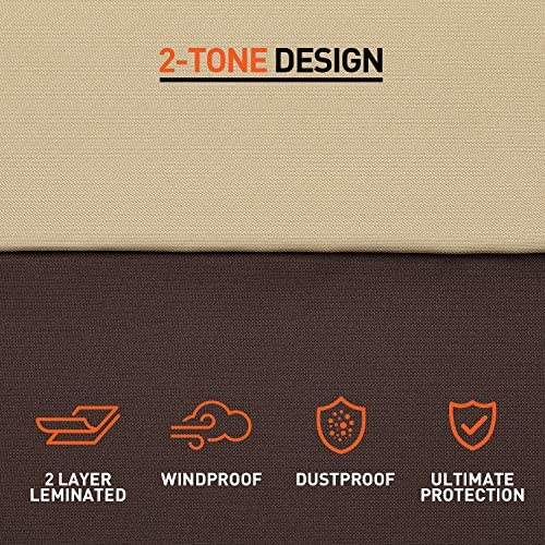 "Arcedo Outdoor Furniture Set Cover, Patio Waterproof Table and Chair Cover, Heavy Duty Large Veranda Round Dining Table Cover with Air Vent, Weather Resistant, 94"" Dia, Beige & Brown"