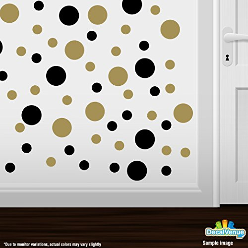 Set Of 30   Black / Metallic Gold Circles Polka Dots Vinyl Wall Graphic  Decals Stickers