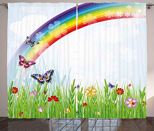 - Ambesonne Rainbow Curtains, Springtime Meadow Colorful Butterflies Grass Daisy Silhouettes Poppy Playroom Decor, Living Room Bedroom Window Drapes 2 Panel Set, 108W X 96L Inches, Multicolor