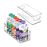 mDesign Baby Food Kitchen Refrigerator Cabinet or Pantry Storage Organizer Bin with Handles for Breast Milk, Pouches, Jars, Bottles, Formula, Juice Boxes - BPA Free, 10' x 4' x 3', 2 Pack - Clear